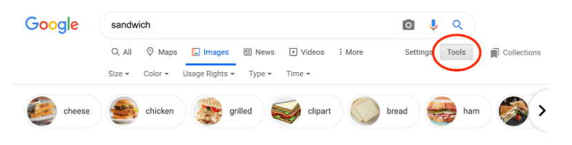 Find usage rights in image search for blog