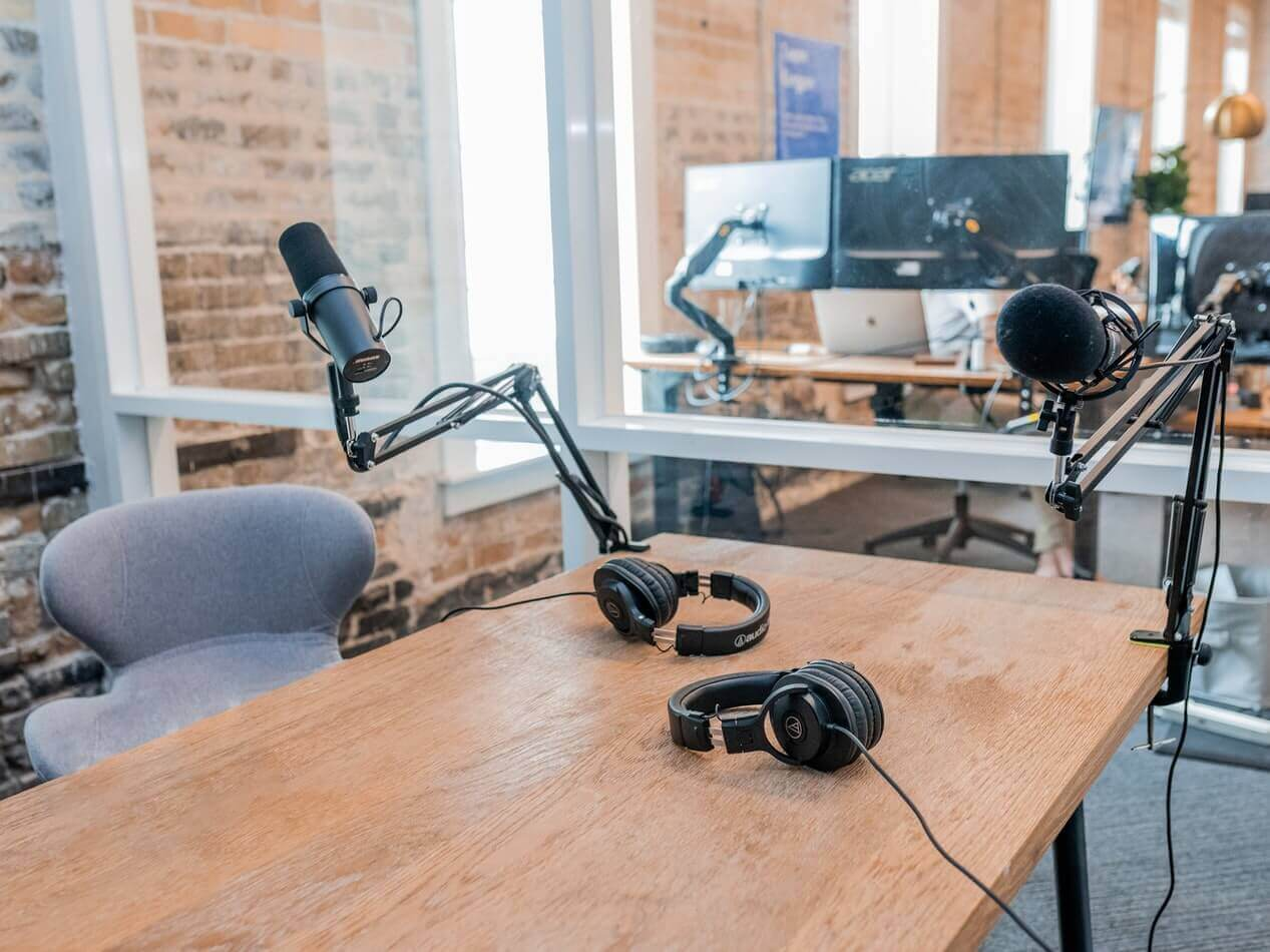 Microphones in a podcast studio
